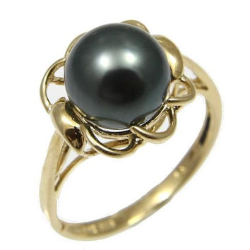 8.87MM GENUINE TAHITIAN PEARL RING SET IN SOLID 14K YELLOW GOLD