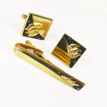 Vintage Cufflink and Tie Clip Set in Black and Gold Tone / Vintage Wedding Cufflink Set - Boutons de Manchette.