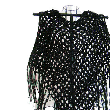 FREE SHIPPING - Crochet Summer Poncho, Capelet, Cape, Shawl, Wrap, Shrug, Shoulder Warmer - Black, Onyx