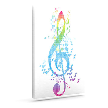 "Frederic Levy-Hadida ""Rainbow Key"" Multicolor Music Canvas Art"