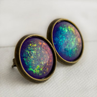 Supernova Post Earrings in Antique Bronze
