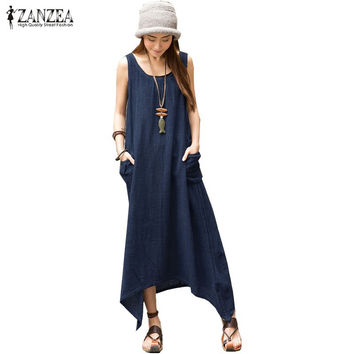 ZANZEA  Summer Boho Women Casual Loose Sleeveless Long Dress Vintage Pockets Irregular Maxi Dresses Plus Size Vestidos