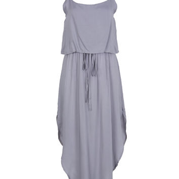 Grey Layered Top Tie Waist Curved Hem Cami Dress
