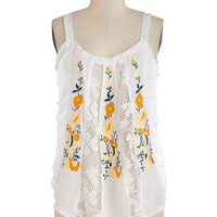 ModCloth Boho Mid-length Tank top (2 thick straps) Southwest Sunset Tank in White