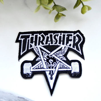THRASHER Skate Iron on Patch Street Sports Skateboard Clothing Accessories Embroidered Badge Pin Patches