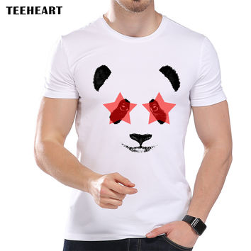Men's Cute Star Eye Panda Printed Designer T-Shirt Cool Summer Modal Animal Graphic Top Tees