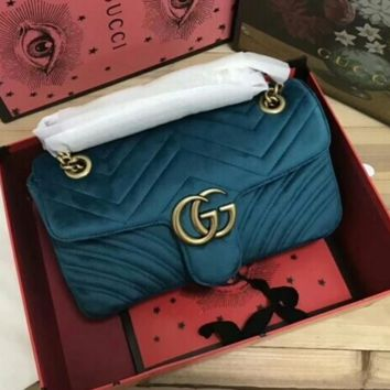 GUCCI Double G Women Shopping Leather Metal Chain Crossbody Satchel Shoulder Bag G