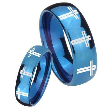 His Hers Mirror Blue Dome Multiple Christian Cross Tungsten Carbide Wedding Rings Set