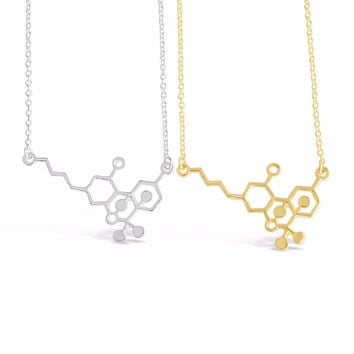 THC Molecule Necklace Cannabis Molecule Necklace