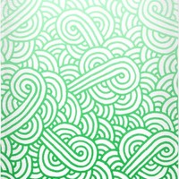 Gradient green and white swirls doodles Beach Towel