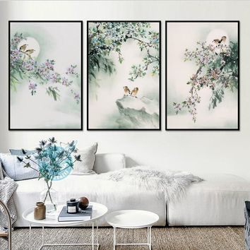 New Chinese Ink Paintings Freehand Bird Flower 3 Pieces Decorative Paintings Canvas Paintings Decoration for Room Unframed