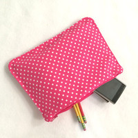 Organizer Travel Case Hot Pink Dot Pencil Case with Zipper Back to School Ready to Ship School Supplies Medication Storage Meds
