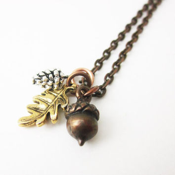 Woodland Necklace, Charm Necklace, Pinecone, Acorn, Oak leaf, Necklace, Jewellery, Women, Gift Idea, Mixed Metal, Bridesmaid Gift, Gift ,