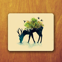 Deer Shadow Hipster Mouse Pad Art Abstract Bird Shadow Tree Cute Beautiful Animal Accessory For Desk Office Personalized Office Pad Mat