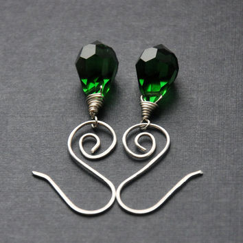 CIJ Green Crystal Earrings, Emerald Wire Earring, Sterling Silver, Celtic Spirals, Small Glass Teardrops, Christmas in July
