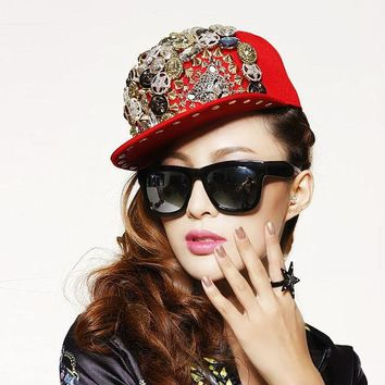 DCCKIX3 Korean Punk Hip-hop Rivet Ladies Baseball Cap Hats [4989708932]