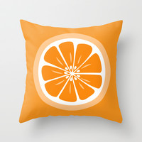 Orange Fruit Slice Summer Fun Throw Pillow by Papel y Pastel | Society6
