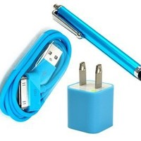 Bluecell Aqua Blue Color Wall Ac Charger + 3FT USB Sync Data Cable for iPhone 4 4s 3g/s iPod + Universial Touch screen stylus/styli