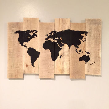 World Map Painting on Rustic Staggered Wood - Recycled Wood - Pallet Wall Ornament - Globe