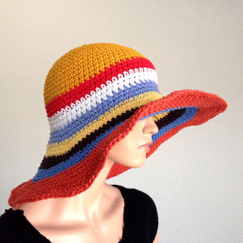 Large Brimmed Summer Hat. Crochet Sun Hat. Summer Fashion Multicolored Cotton Hat