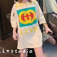 """Gucci"" Woman's Leisure  Fashion Letter Printing   Loose Large Size Short Sleeve Tops"