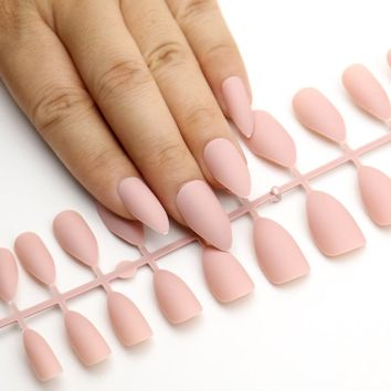 24Pcs Matte False Nails Pointed Soft Pink Nude Black Fake Stiletto Nails Full Cover Pure Color Artificial Nail Tip Party Nail