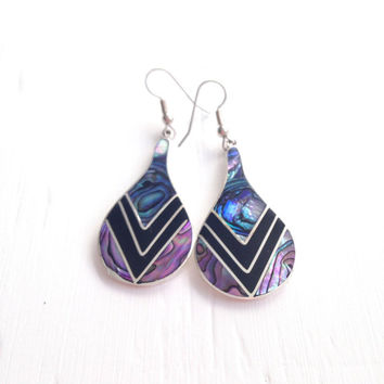 10% OFF SALE Vintage Purple Abalone Earrings
