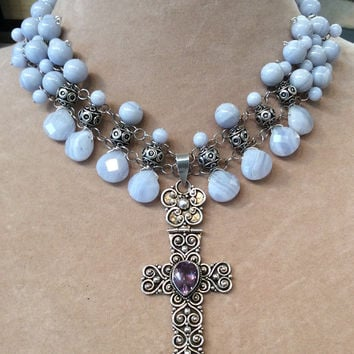 Handmade Sterling Silver Vintage Style Beaded Agate Necklace with Large Amethyst Cross Pendant 925 Silver Blue Lace Agate Religious Necklace