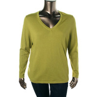 Lord & Taylor Womens Plus Merino Wool Long Sleeves V-Neck Sweater