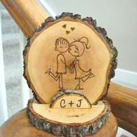 Rustic Wedding Cake Topper Couple Wood Personalized Initial or Date