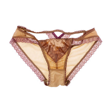 V-DAY SHIPPING Claire Cross Back Luxe Panty in Rose Petal SIZE S