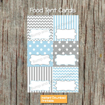 Baby Shower Food Tent Cards Baby Powder Blue Grey Printable Party Supplies Baby Shower Birthday Party Buffet Labels diy INSTANT DOWNLOAD 004