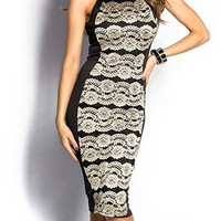 Black and Tan Sleeveless Lace Overlay Midi Dress