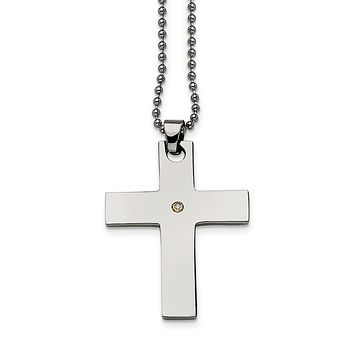 Stainless Steel and Single Diamond Accent Cross Necklace - 22 Inch