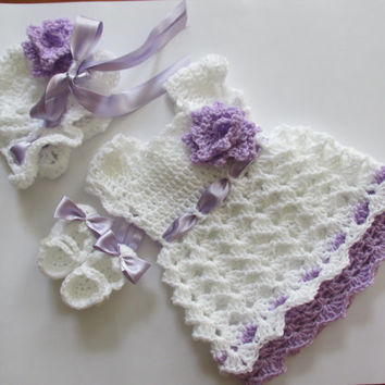 Crochet baby outfit set first outfit take home dress newborn dress hat shoes set