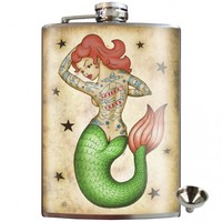 Trixie & Milo Tattooed Mermaid Stainless Steel Hip Flask | Unique Gift