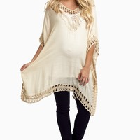 Beige-Open-Crochet-Accent-Linen-Maternity-Tunic