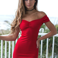 Head Turning Red Off The Shoulder Dress