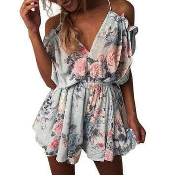 ONETOW 2017 New Women Summer V Neck Jumpsuit Bohemian Style Off Shoulder Beach Elegant Ruffles Print Romper Boho Jumpsuit