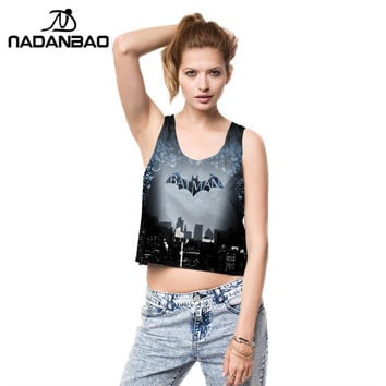 Summer Fashion Women Crop Tops Sexy Tank Tops Vintage Tops Batman Printed Girls Shirt  Personality Cropped B01022