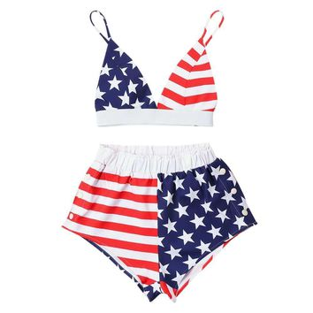 American Flag Cami Women's Two Piece Set - Shorts & Spaghetti Straps Sleeveless Crop Top