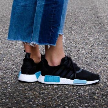 LMFUX5 Adidas WMNS NMD R1 Core Black/Icey Blue Boost Sport Running Shoes Classic Casual Shoes Sneakers