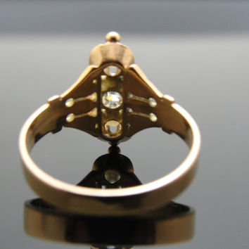 1800s Victorian Rose Gold, Mine Cut Diamond and Seed Pearl Ring. Stunning. RGDIA762D