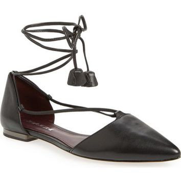 COACH 'Johnson' Ghillie Lace Pointy Toe Flat (Women) | Nordstrom