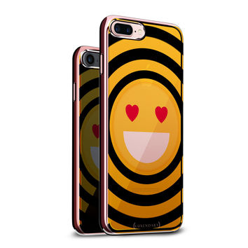 EMOJI W/ HEART SHAPED EYES DESIGN WITH CLEAR ROSE GOLD CASE FOR IPHONE 8/7 PLUS