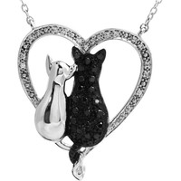 "Sterling Silver Black & White Diamond Cats Heart 18"" Necklace"