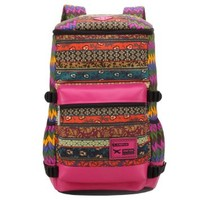 Vere Gloria Male Female Casual Travel Striped Tribal Vintage Ethnic Hiking Backpack, Large Capacity Back Packs for Teenage Girls Boys Students Shoulder Strap Picnic Bags (red)