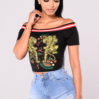 Farrah Off Shoulder Top - Black