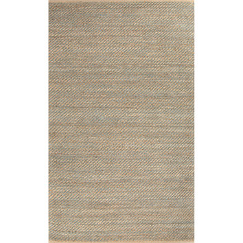 Naturals Stripes Pattern Taupe/Blue Jute and Rayon Area Rug (2.6x4)