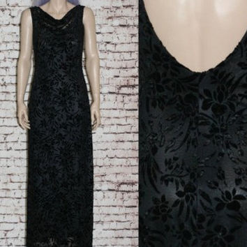 90s Maxi Dress Burnout Velvet Floral Black Mesh Cowl Neck Low back Prom Grunge hipster gypsy boho festival pastel Nu Goth Gothic witchy M L